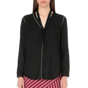 MAJE Black Calliday Woven Button Blouse with Tie